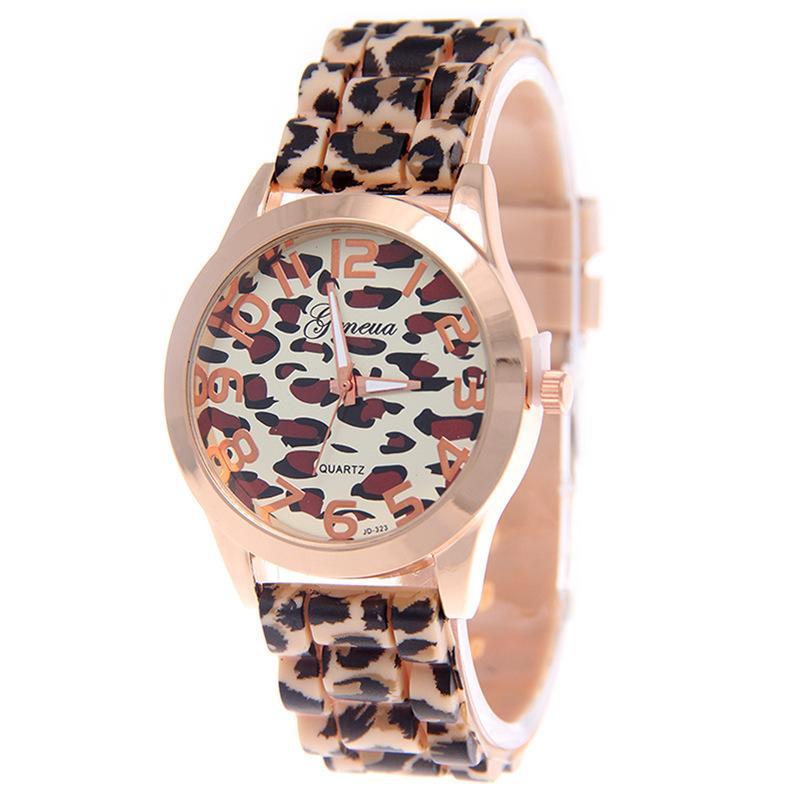 Frauendamen weibliche Leopard Art und Weise Silikonkautschuk Druck beiläufige Dame Uhrquarz Studenten kleiden Armbanduhr