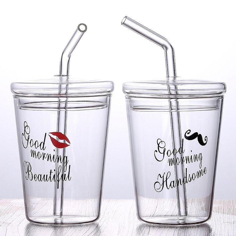 Verre de jus de petit déjeuner en verre de Borosilicate avec logo sans BPA personnalisé de 10 oz avec paille et couvercle pour boissons froides chaudes