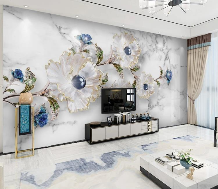 Moderna minimalista alivio elegantes joyas de flores TV telón de fondo de pared del hotel Sala de estar de lujo Photo fondo de pantalla 3d personalizada