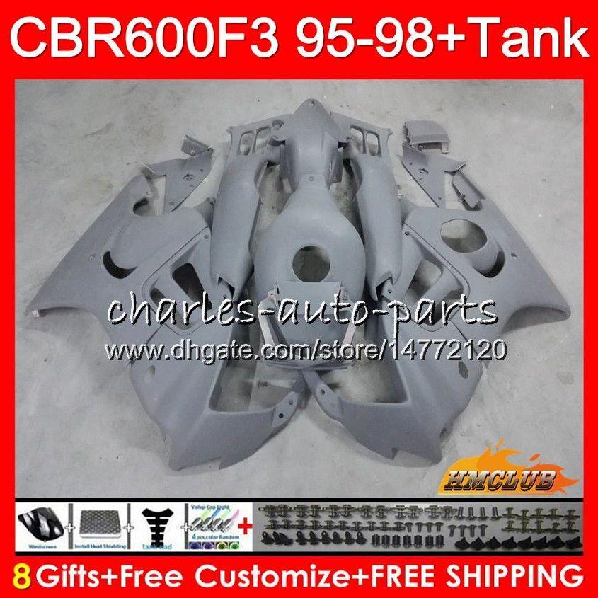+ Tank Honda CBR 600F3 600cc CBR 600 FS CBR600FS 41HC.154 CBR600 F3 CBR600F3 1995 1996 1997 1998 F3 95 96 97 98 Fairing Kiti mat gri için