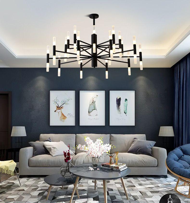 현대 램프 패션 디자이너 블랙 골드 LED 천장 아트 데코 부엌 거실에 대 한 샹들리에 라이트 램프 로프트 침실
