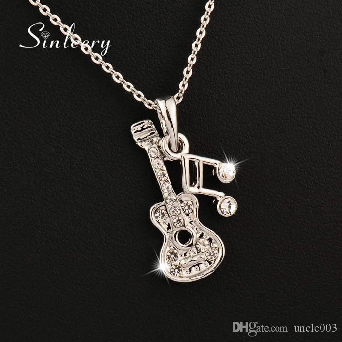 Музыкальный высокого качества Примечание гитары ожерелье серебро розового золота цвета цепи Марка ювелирных изделий Бесплатная доставка Xl268 ОБП