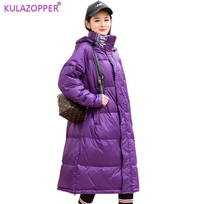 donne KULAZOPPER bianco d'anatra piumini inverno lunghi sciolti luce giacca femminile giù outwear incappucciato cappotti LZ022