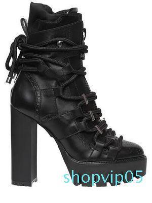 Dipsloot Kadın Moda Kare Yüksek Topuklar Bilek Boots Kadınlar Katı Siyah Yuvarlak Burun Motosiklet Boots Bayanlar Dantel-up Kısa