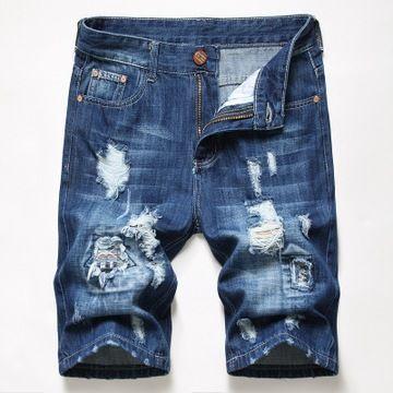 Denim Shorts strappato foro 2020 Hot Summer Pantaloni strappato Distressed Bermuda Maschio Stretch lunghezza del ginocchio brevi jeans vintage uomini
