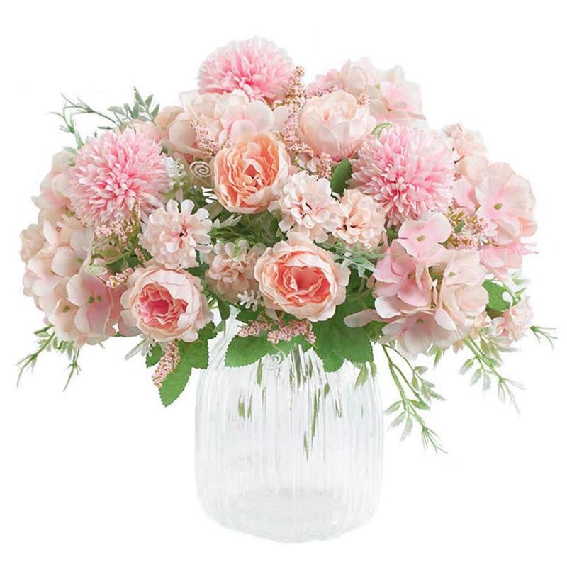 زهور اصطناعية، وهمية الفاوانيا الحرير الكوبية باقة ديكور البلاستيك القرنفل ترتيبات زهرة واقعية مناسبات الزفاف
