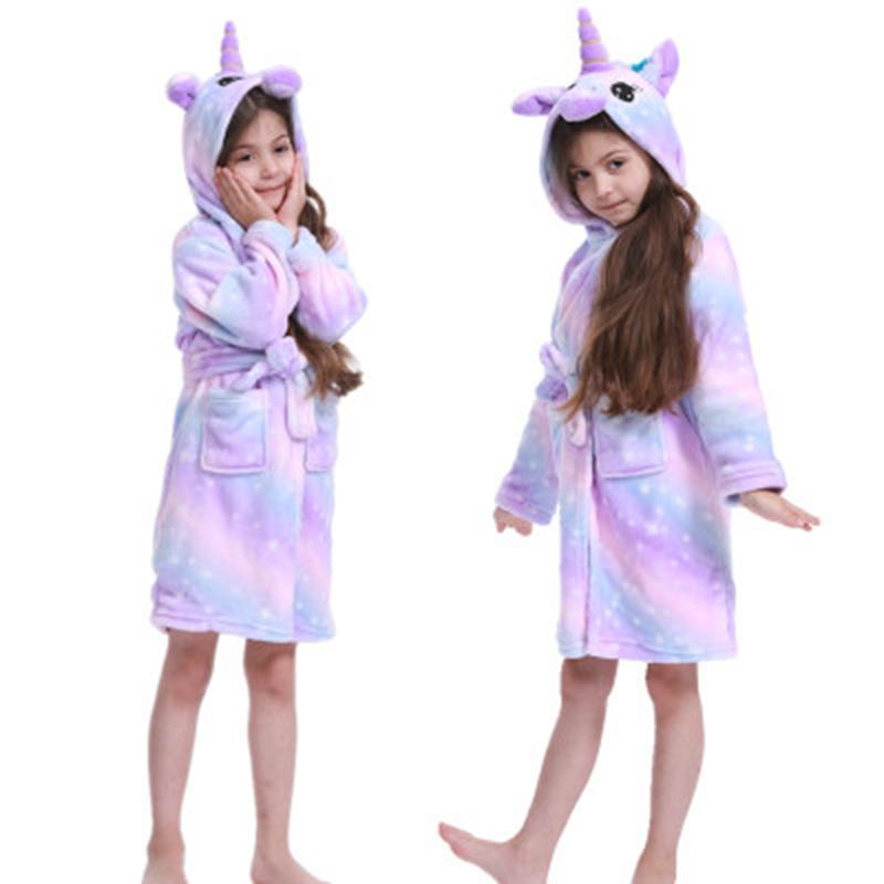 2020 Winter Unicorn Robe Для девочек Пижамы животных с капюшоном Дети Халат мальчиков пижамы Детский халат младенца Nightgown Y200429
