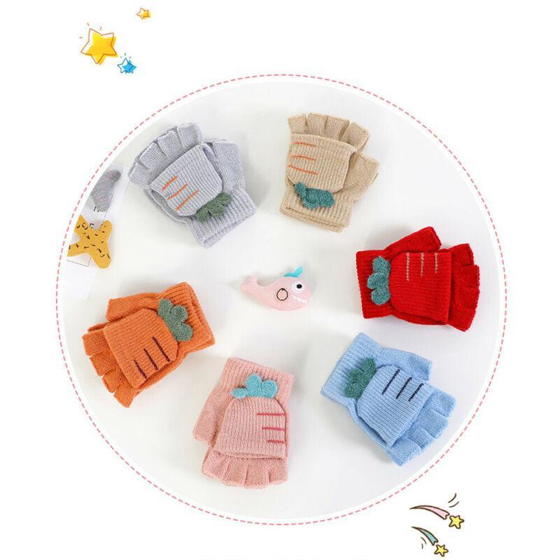 Bambini flip metà Finger Gloves Carino Ragazzi Ragazze Uccello Guanti di maglia dei bambini caldo molle invernali di spessore del guanto senza dita coperto