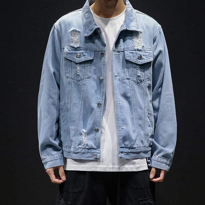 5XL Homme Denim Vestes Holes Jean Homme Vestes Vêtements de loisirs Manteaux Hommes Coton Jeans Manteaux Taille Plus Outwear H42208