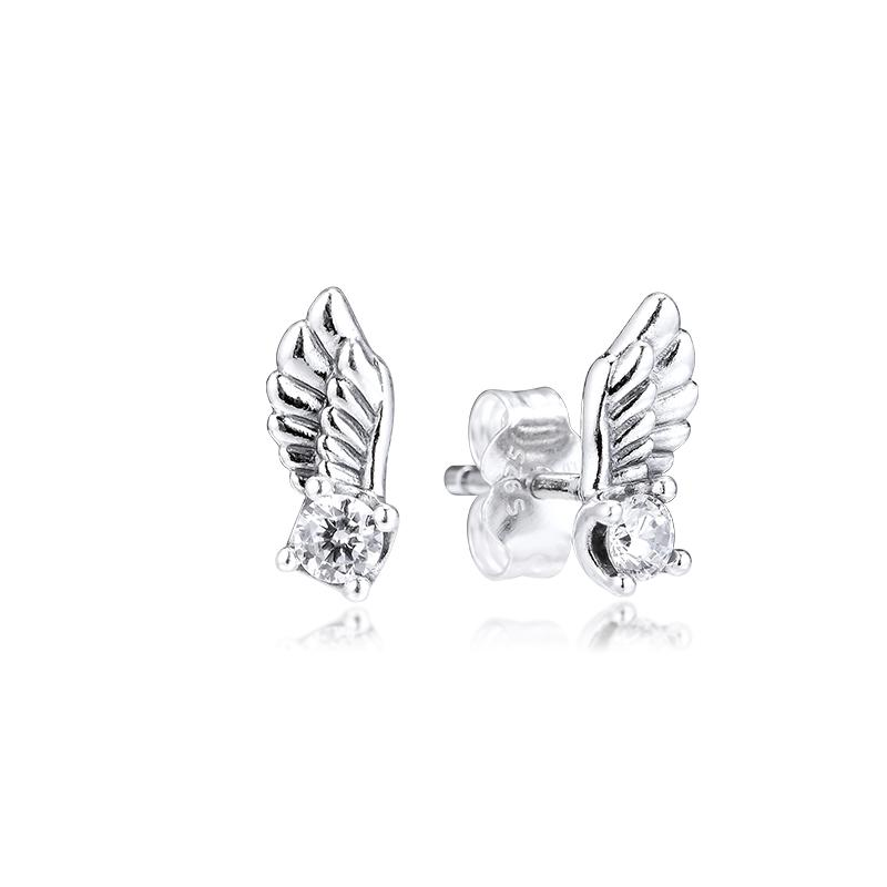 ЦКК серьги игристых Angel Wing Стад серьги для женщин стерлингового серебра 925 ювелирных изделий aretes Pendientes Kolczyki орать Brincos
