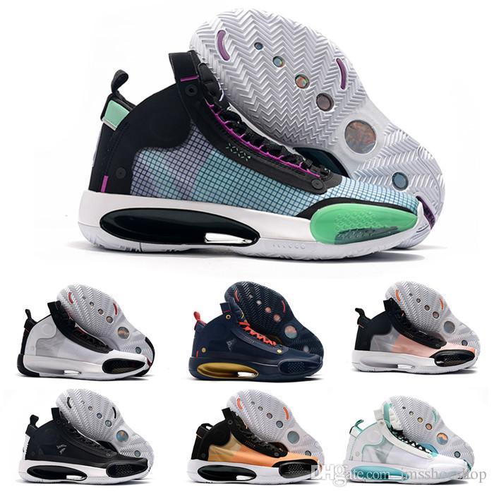 2020 أحذية الجديد Jumpman الرابع والثلاثون 34 الكسوف الأزرق الفراغ أخضر أبيض أسود أحمر الرجال لكرة السلة لل34S جودة عالية Zapatos حذاء رياضة يورو 40-46