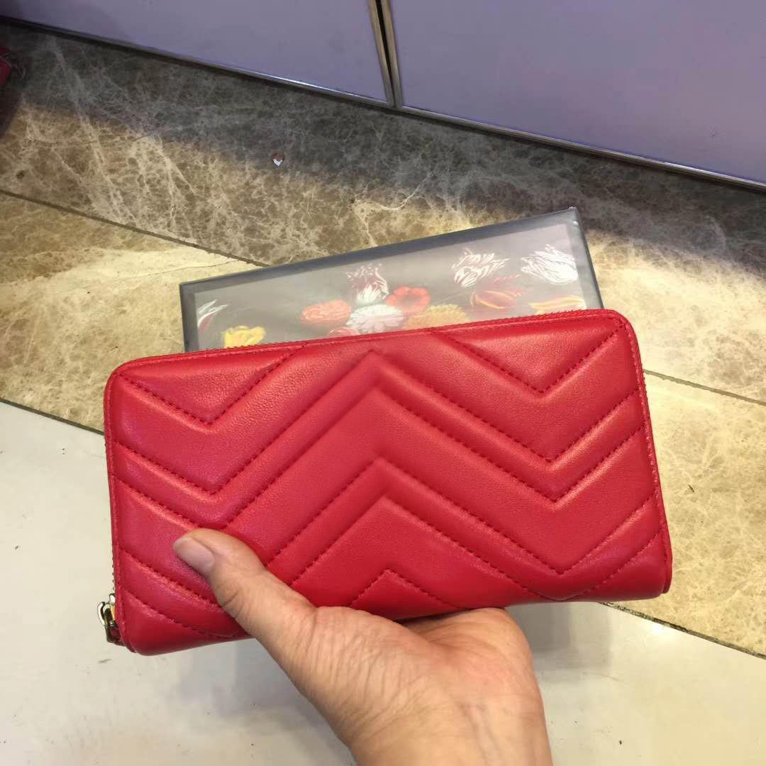 Diseñador-2019 de la marca de moda largo billetera de cuero mujeres onduladas embrague de alta calidad bolsillo con cremallera clásica bolsa de diseñador de lujo