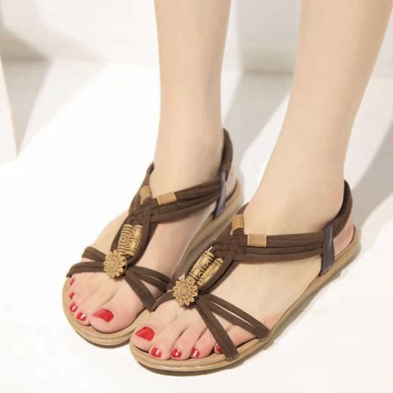 SAGACE-New Women Sandals Fashion Summer Women Shoes Bohemia Gladiator Beach Flat Casual Sandals Leisure Female Ladies 6J11