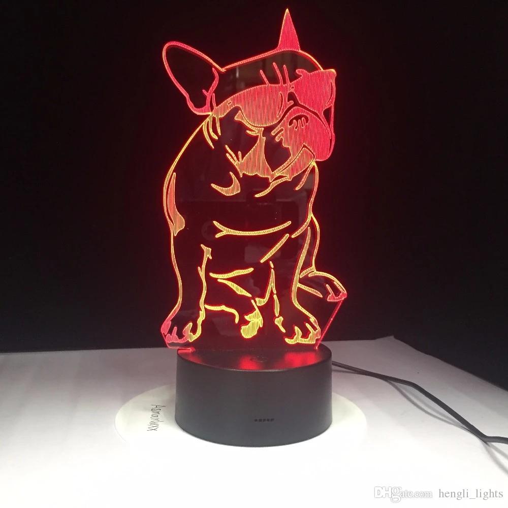 Moda Cool Dog 3d della lampada di 7 colori LED Notte lampade per i bambini di tocco LED USB Tabella Lampara Lampe bambino che dorme Nightlight JK0135