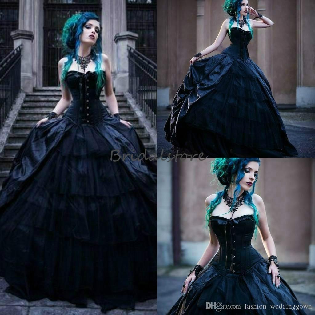 Black Spaghetti Strap Wedding Dresses Punk Gothic Formal Bridal Gown Custom Made
