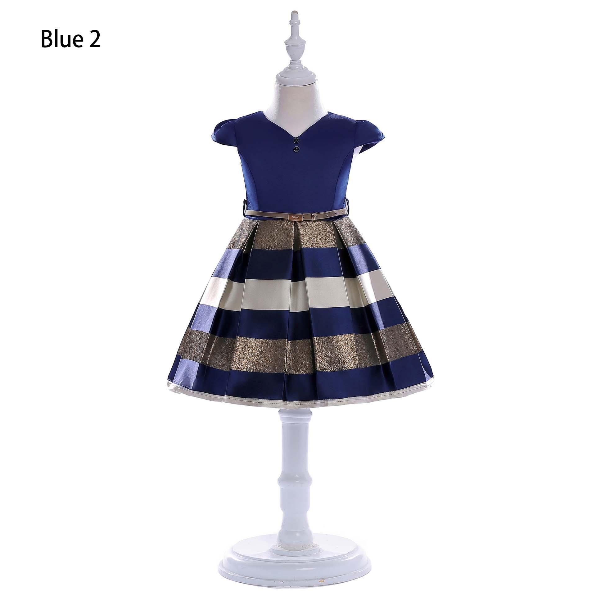 Vestidos de diseñador de moda para niñas Marca de verano Pequeñas mangas volantes Rayas Vestido de princesa con arco lindo Falda de escenario para niñas de alta calidad