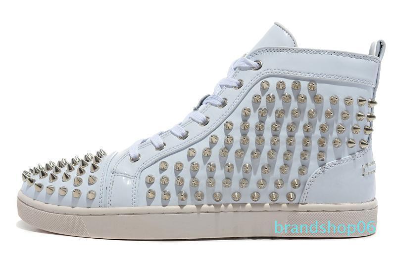 2020 мода роскошные кроссовки Chaussures Мужчины Женщины платформа фитнес повседневная Нижняя шипы заклепки горный хрусталь Кристалл Красный спортивная обувь 36-46 lll