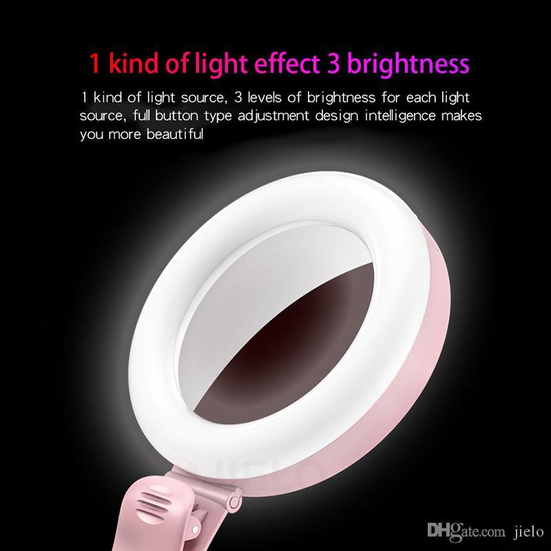 Flash portátil LED USB Charge LED Selfie Anel Luz Portátil Lâmpada de Telefone para iPhone Smartphone Xiaomi Beauty Beauty Light Photography Lâmpadas