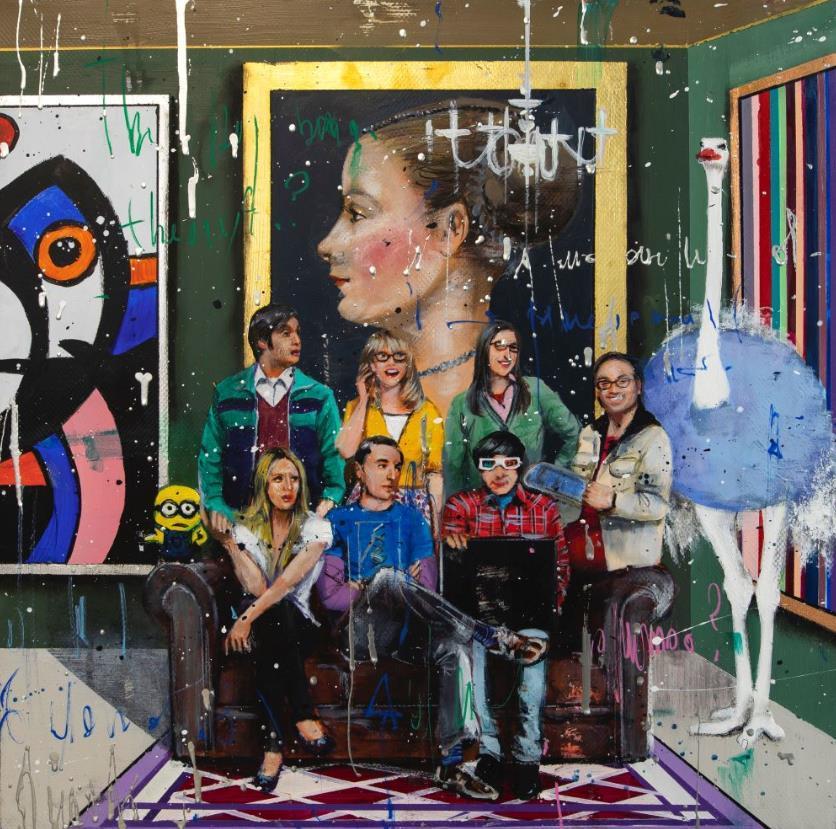 Angelo Accardi obras de la gran explosión AMIGOS Decoración Artesanías / impresión de HD pintura al óleo sobre lienzo arte de la pared de la lona representa 200515