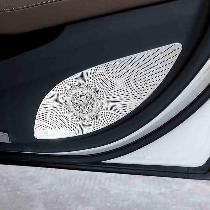 Stereo Car Styling Interior Door Speaker Círculo Net Capa guarnição da etiqueta para a Mercedes Benz Classe E W213 2016-2018 4pcs Acessórios Auto