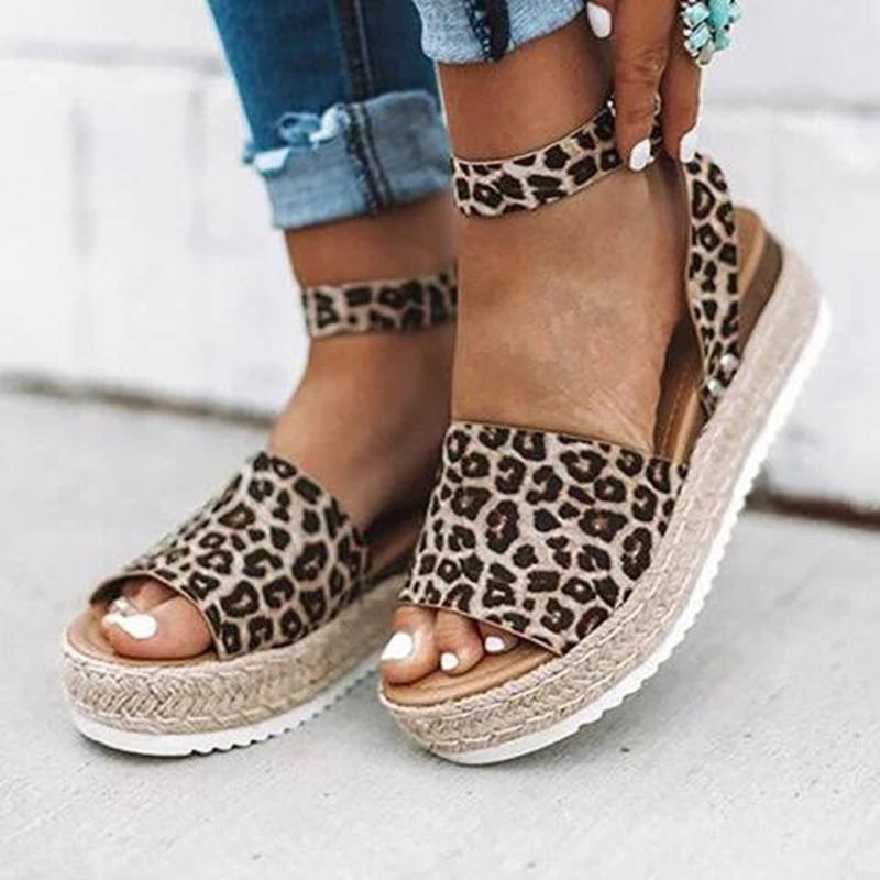 Women Sandals Leopard Print Buckle
