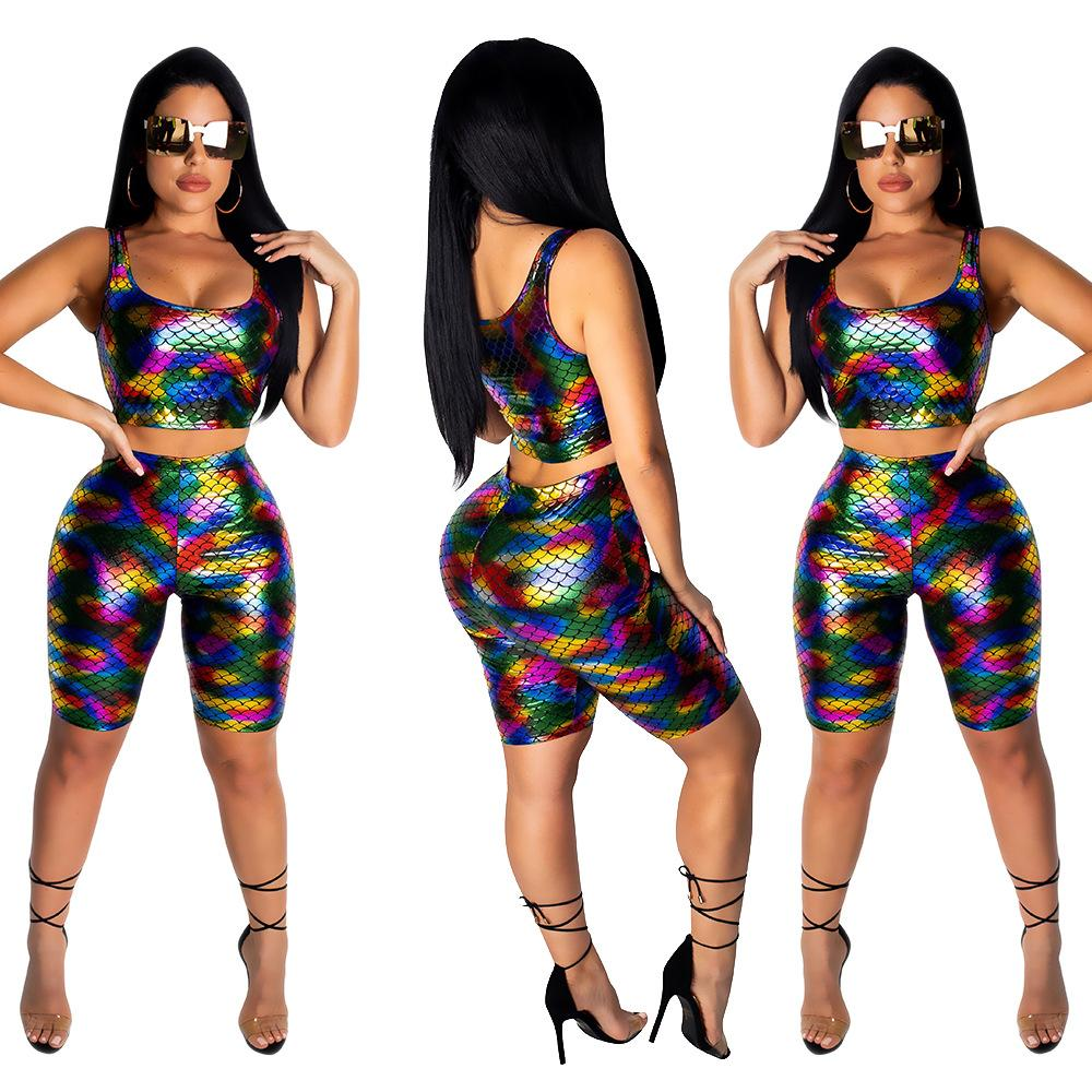 Multi Faux Leather Tracksuit Women Two Piece Sets PU Track Outfits Fish Scale Print Short Sleeveless Crop Top Shorts Set Sexy Club Wear
