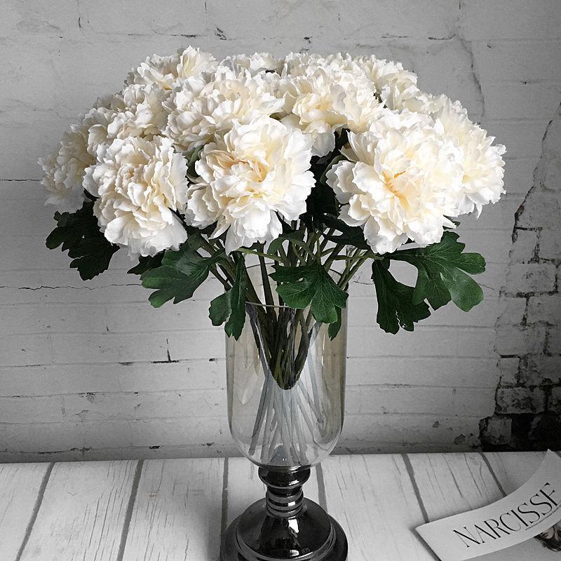 Una sola rama, rosa, peonía, flores artificiales, seda, peonías blancas, para primavera, decoración de la boda, flores falsas, flores al por mayor