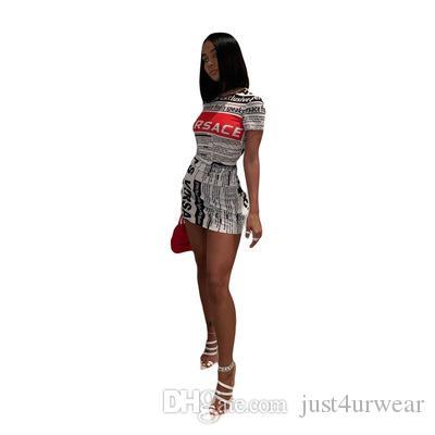 Manica corta delle donne popolare caldo Stampa di giornali Abiti O Collo Club vestiti sexy Abbigliamento Estate