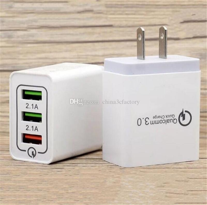 3 USB QC 3.0 Quick charge US Eu Ac home Wall charger адаптер питания быстрая адаптивная настенная вилка для iphone samsung