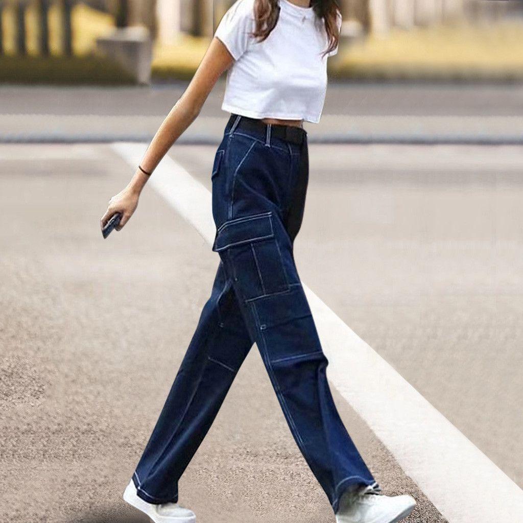 high waist jeans for women slim stretch denim Women Lady Fashion Zipper pocket High waist trousers jeans pants Straight pants#G2