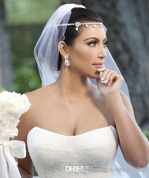 Vente chaude Kim Kardashia cristal brillant strass belle pièce cheveux mariée mariage accessoires bijoux Diadèmes véritables Photoes