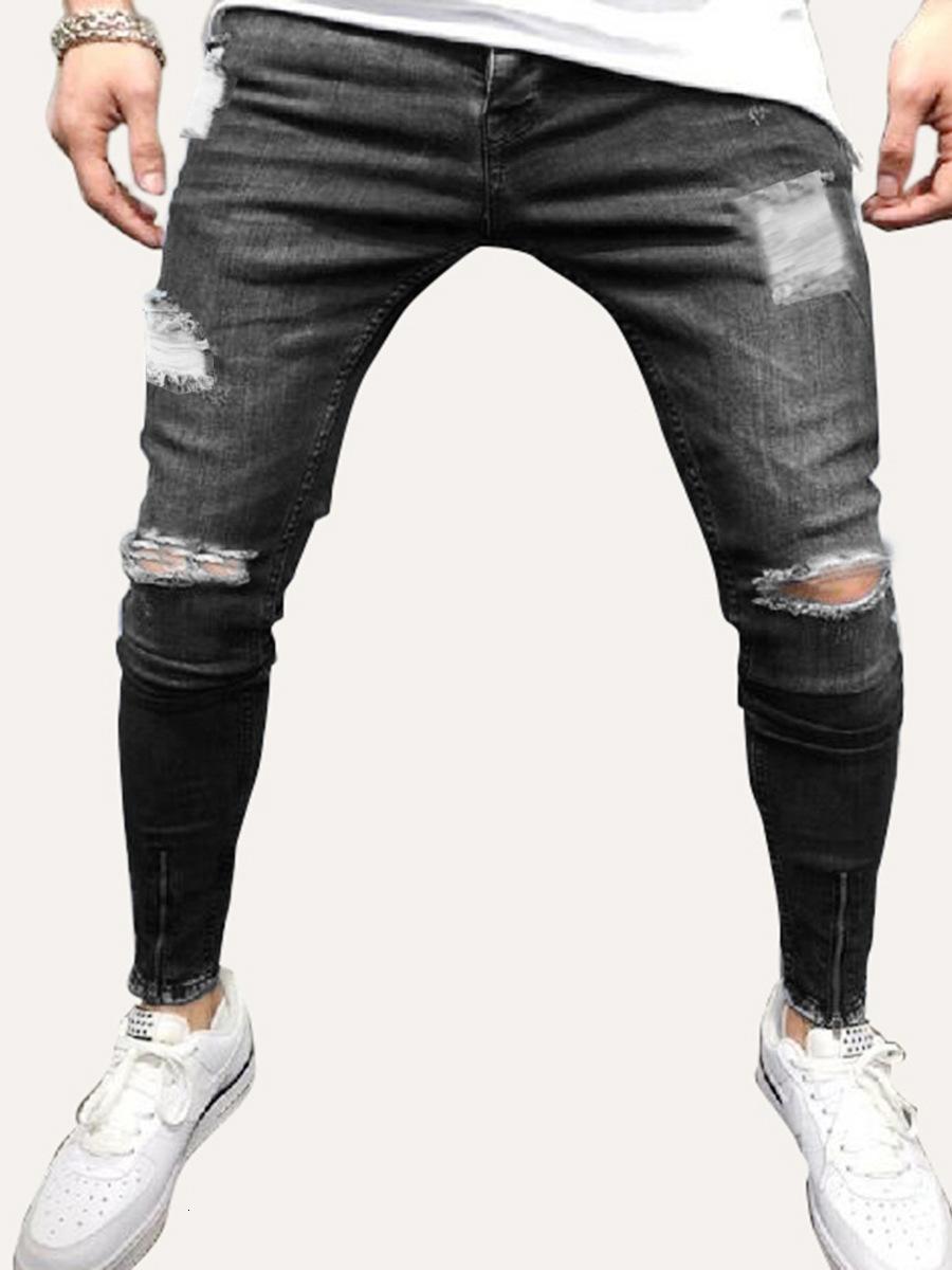 2019 Trous Jeans Homme Beggar Bound Bottom pieds d'un pantalon jambe Zipper Cowboy auto-culture homme Pantalons Temps libre