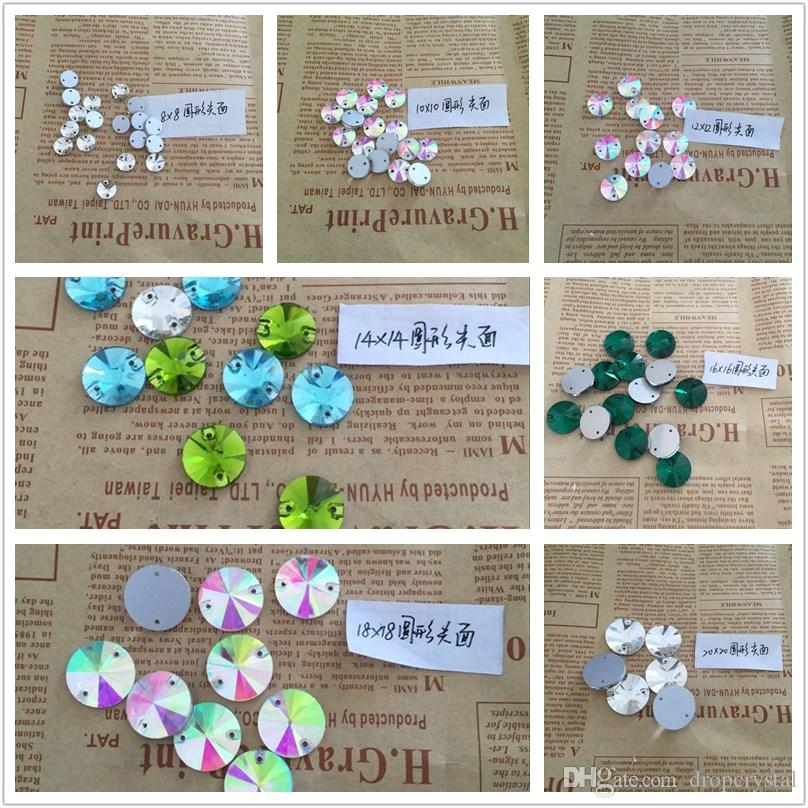 Various Sizes Clear Round And Rivoli Sew On Stone Round Shape Crystal Beads Sew On Strass Crystal Stones For DIY Clothes Craft