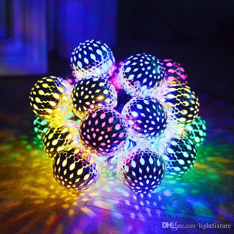 Altın Gümüş Fas Topları Güneş LED Dizeleri Işık Açık Su Geçirmez Bahçe Işıkları Tatil Dekorasyon Aydınlatma Dize
