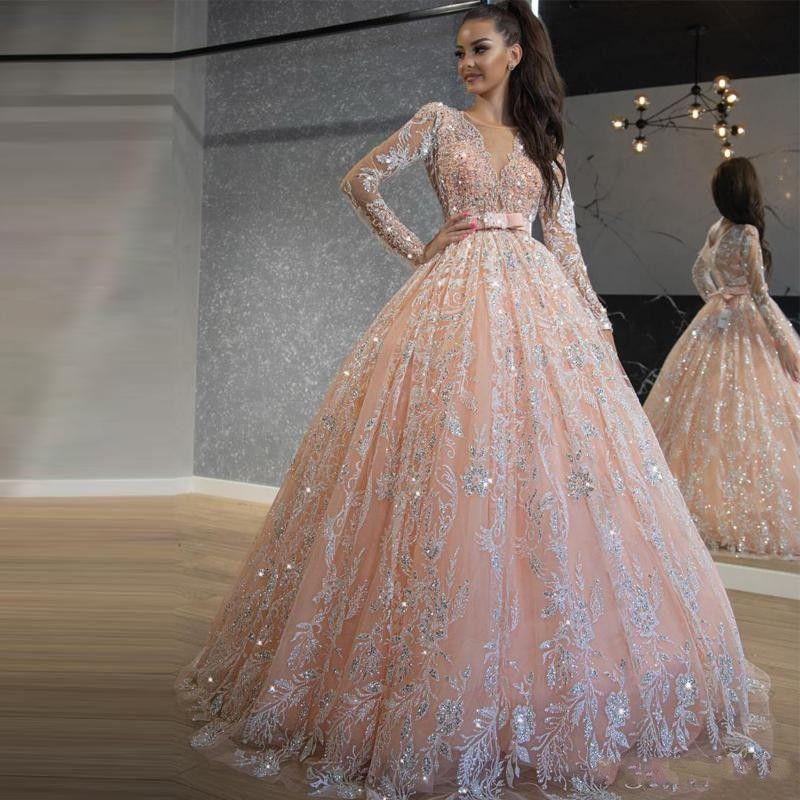 2020 Bebê Rosa Quinceanera Vestidos Lantejoula Bola Lace Vestido Prom Vestidos Jewel Neck manga comprida doce 16 Vestido Longo Traje a Rigor Formal