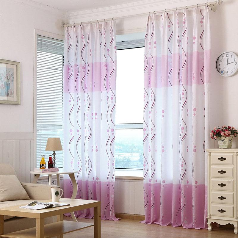 Chinese Style Simple Pink Fabric Physical Shading Window Curtains For Living Room Bedroom BS