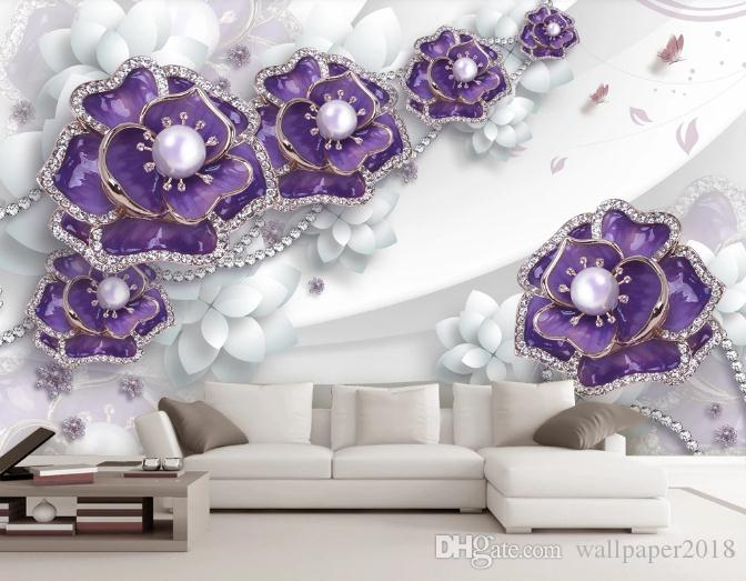 Custom Mural Wallpaper For Kids Room Hand Painted Color Simple 3d Flower Jewellery TV Background Wall Wallpaper Murals Papel De Parede Pc Wallpaper In