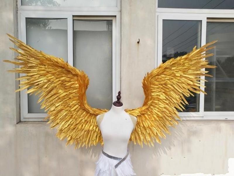 NEW! Ряженые красивый золотой ангел перо крылья 185см фея крылья для танца Фото Дисплей партии свадебных украшений
