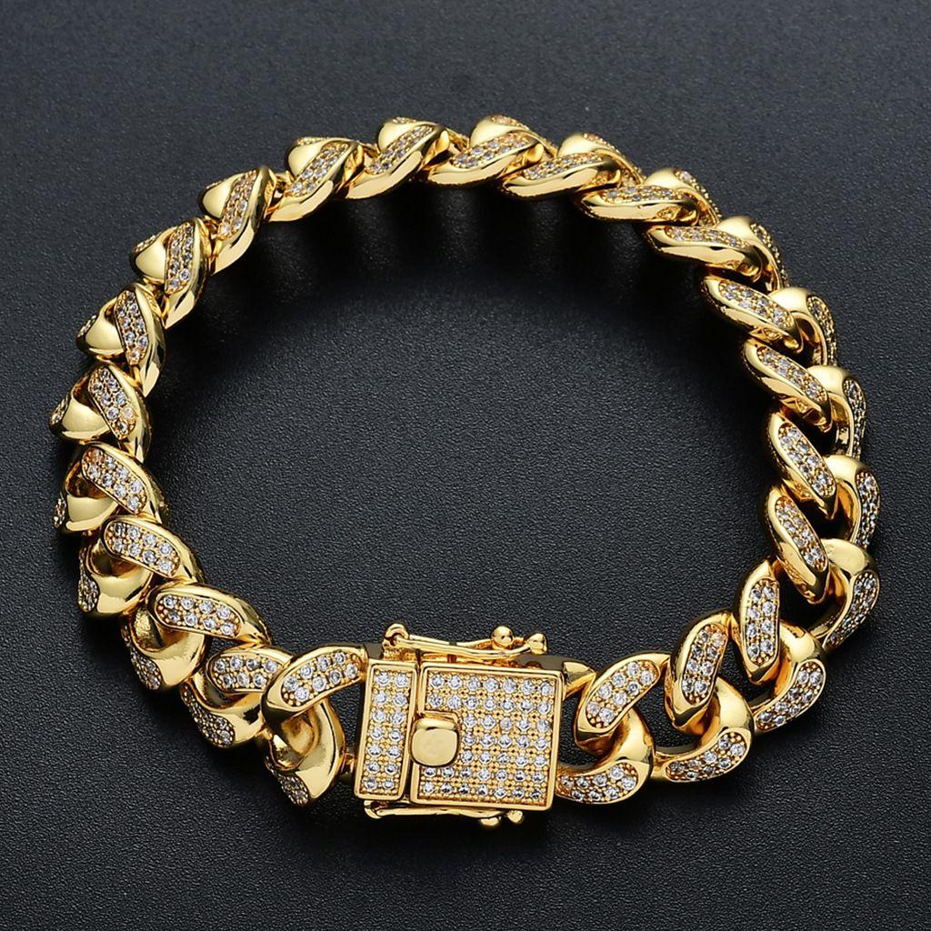 Designer Braceletes Mens Hip Hop Jóias Pulseira de Ouro Gelado Para Fora Cupan Link Chains Bangle Diamante Charme Rapper Amizade Fashion Acessórios