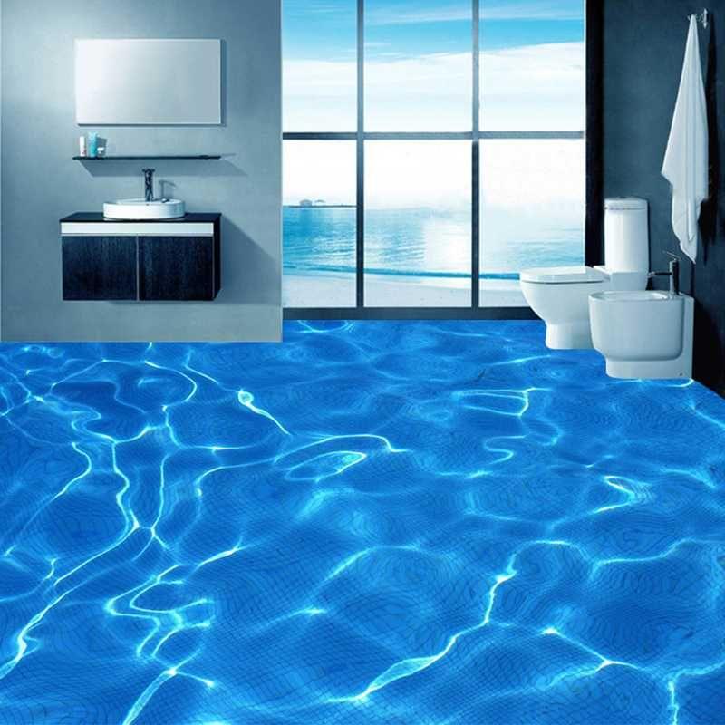 Benutzerdefinierte Foto Boden Tapete Moderne Kunst 3D Blau Wasser Wellen Badezimmer Boden Wandbild PVC selbstklebende Wasserdichte Tapete