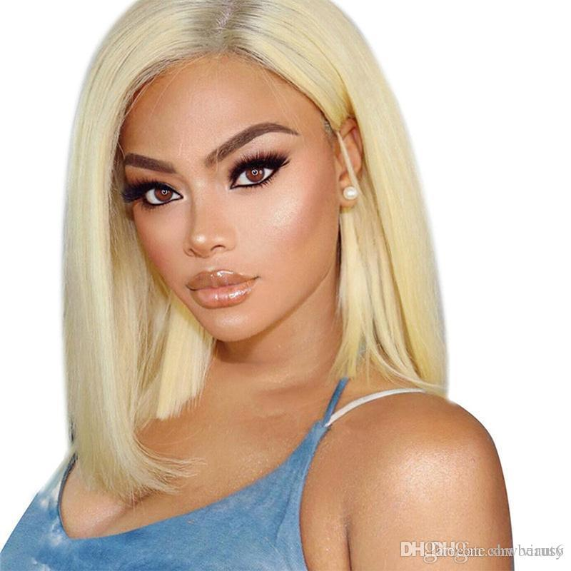 Short Cut Blonde Wig Lace Front Human Hair Pre Plucked With Baby Hairs Straight Short Bob Lacefront Wigs 613 Blonde For Black Wo
