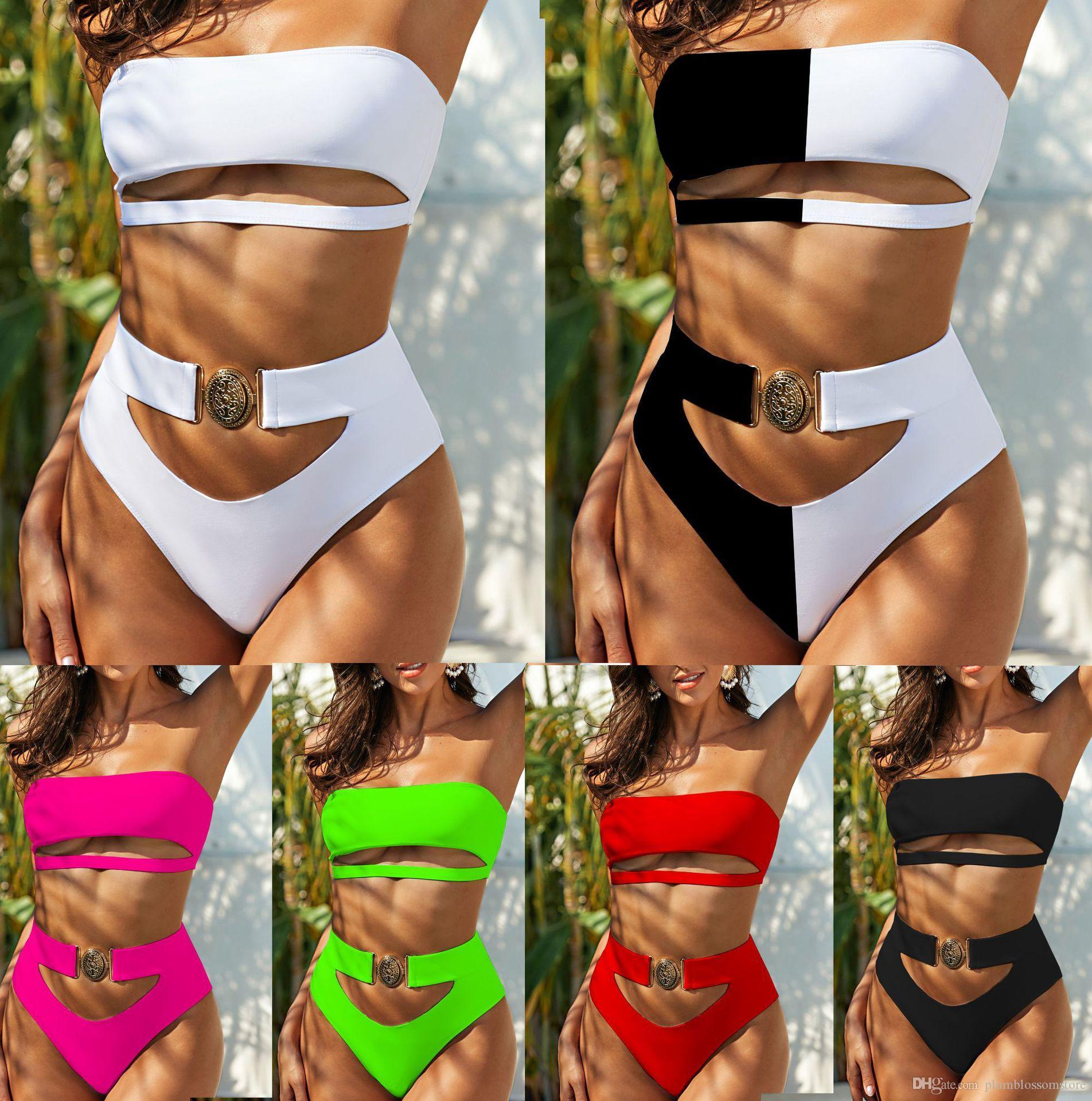 Mulheres Sexy Swimwear Biquinis Set Delicado Metal Buckle Straple Strapless Beach Two-Peça Swimsuits Swimsuits Natação Nadar Beachwear