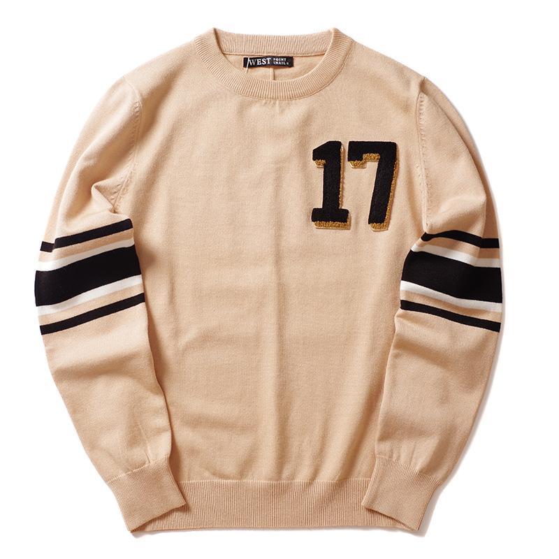 Nuevos 2019 caballero invierno de los hombres de lujo bordados 17 tiras de punto suéteres casuales suéter tamaño asiático de alta calidad # J13