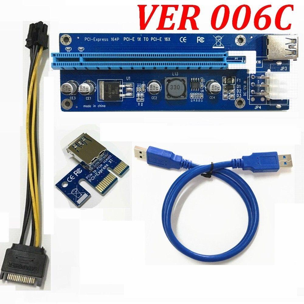 VER 006C PCI-E PCI E اكسبريس 1X إلى 16X بطاقة الرسومات الناهض بطاقة موسع كابل محول الكهرباء 6 دبوس التموين للحصول بيتكوين مينر