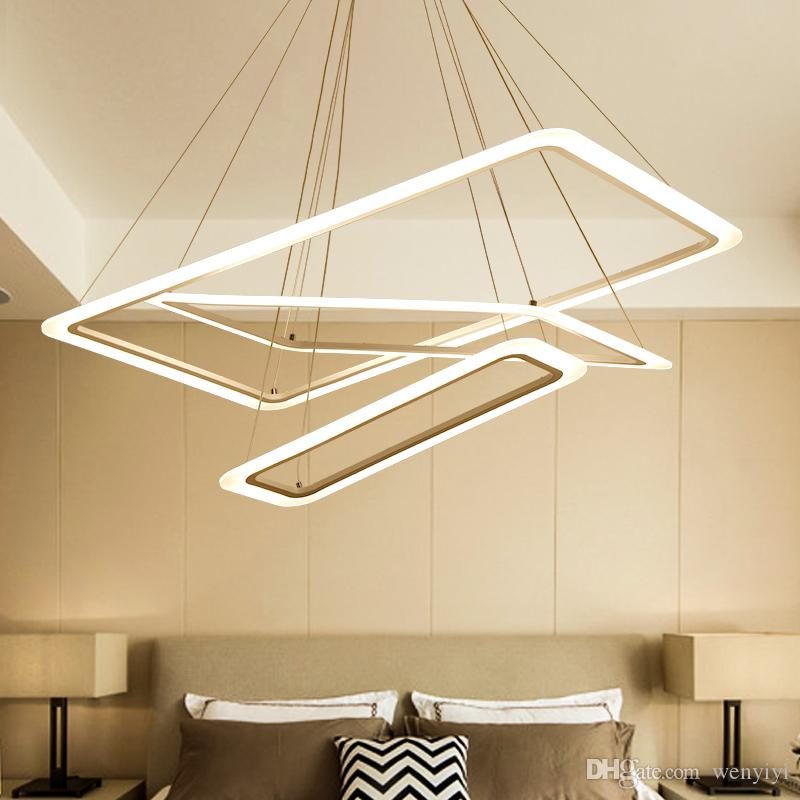 Modern 2 3 4 Square Rings Led Pendant Lights Acrylic Metal Suspension Hanging Ceiling Lamp For For Living Room Dining Room Light Ac 90 265v From Wenyiyi 126 99 Dhgate Com