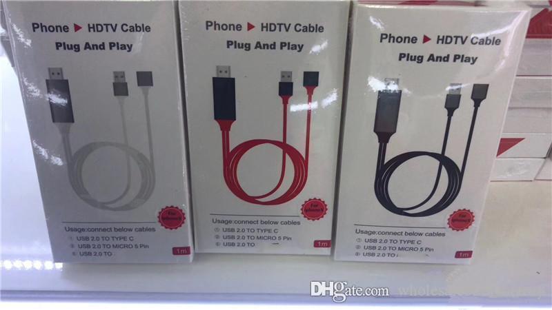 العالمي HDTV الكابل PLUG AND PLAY HDMI HDTV محول التلفزيون الرقمي AV كابل 1080P الهاتف إلى التلفزيون USB 2.0 TO نوع C مايكرو 1M