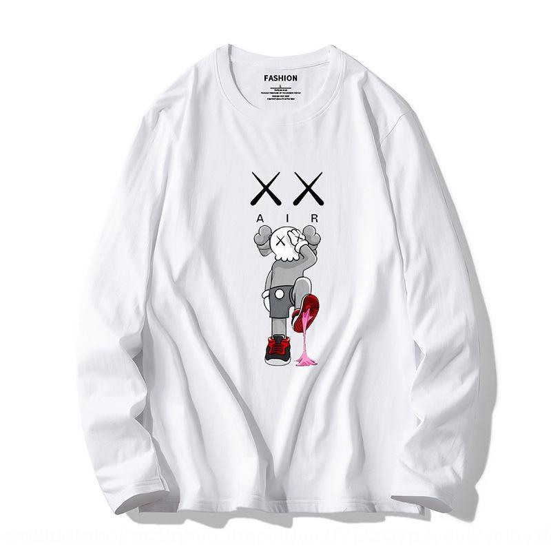 2019 autunno Sesame Street KAWS t-shirt Maglione allentato casuale cotone pullover lungo manica degli uomini T-shirt da uomo