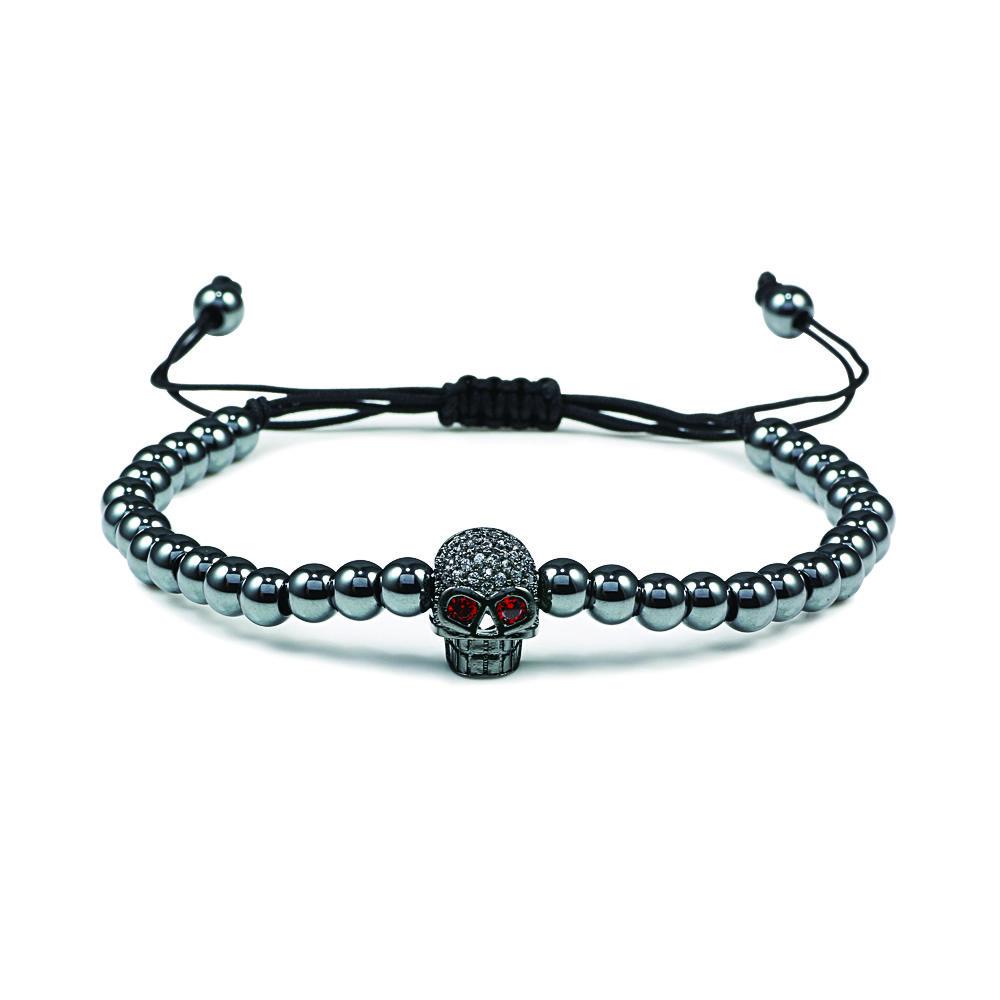 Череп производили бисер мужские браслеты ручной работы Pulsera Hombre Joyas Браслет Мужчины Уникальные Подвески моды лучший друг ювелирные изделия