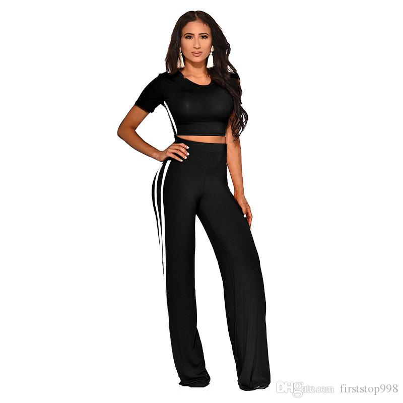 Striped Side 2 Piece Set Lady Outfits Streetwear Woman O Neck Short Sleeve Crop Top + High Waist Straight Trousers 3 Color
