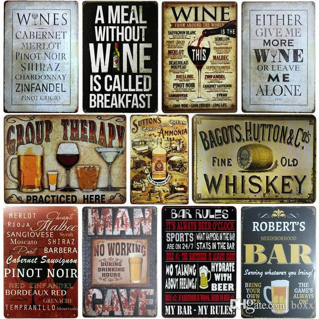 Pub Bar Club Kitchen Decoração Wall Rum bloco Cerveja Placa Peroni Vintage metal Placas de lata Pub Plates Bar Casino parede decorativos Whisky